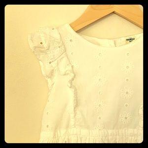 Sweet ruffled sleeve, white eyelet dress